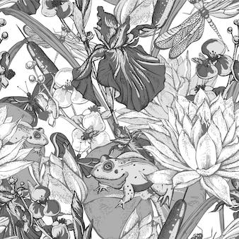 Flores de agua estanque monocromo vintage de patrones sin fisuras