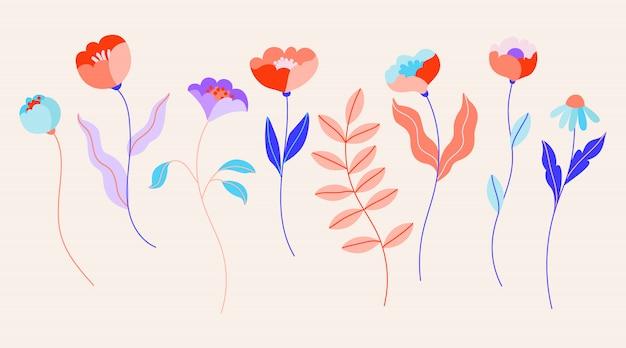 Flores aisladas conjunto de diferentes elementos florales para diseño de logotipo, patrón, web y aplicación. rosas silvestres vibrantes femeninas, ramas de árboles y flores de campo. dibujado a mano ilustración de moda.