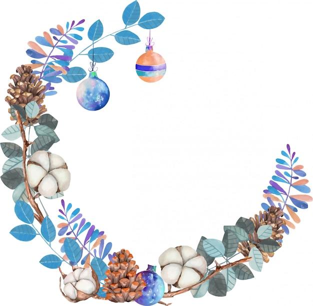 Flores de algodón de acuarela, piñas y ramas azules corona de navidad de invierno
