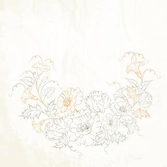 Flores de amapola y enredadera.