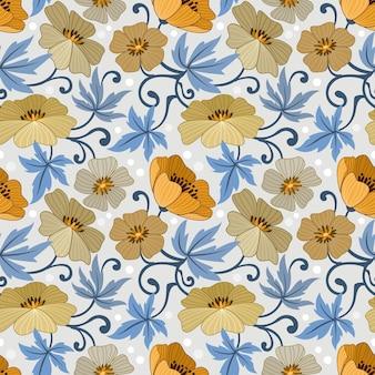 Flores amarillas diseño de patrones sin fisuras para el fondo de papel de envoltura textil de tela.
