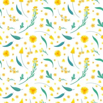 Flores amarillas y hojas de patrones sin fisuras