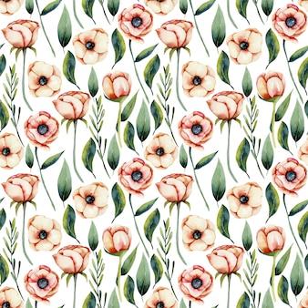 Flores de anémona de coral acuarela y hojas verdes de patrones sin fisuras