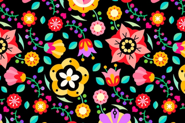 Flores de arte popular estampado sobre fondo negro