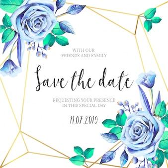 Flores azules con invitación de boda de marco dorado