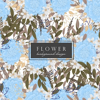 Flores azules florales sin costura