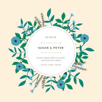 Flores azules con hojas de invitación de boda