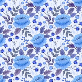 Flores azules monocromáticas y hojas de patrones sin fisuras