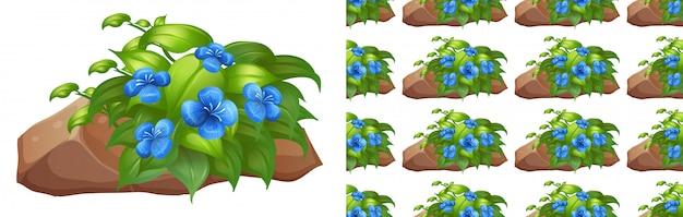 Flores azules en piedra