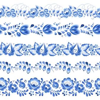 Flores azules porcelana rusa floral hermoso adorno popular. ilustración. bordes horizontales sin costuras. patrón floral chino.