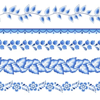 Flores azules porcelana rusa floral hermoso adorno popular. ilustración. bordes horizontales sin costuras.