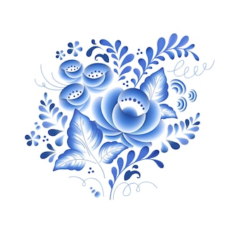 Flores azules porcelana rusa floral hermoso adorno popular. ilustración. composición decorativa.