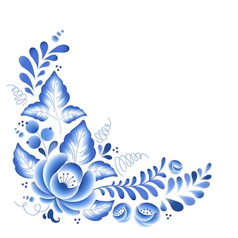 Flores azules porcelana rusa floral hermoso adorno popular. ilustración. decoración de composición de esquina.