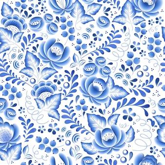 Flores azules porcelana rusa floral hermoso adorno popular. ilustración. fondo transparente.