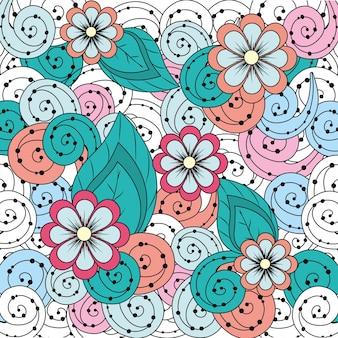 Flores de belleza con diseño de fondo ornamental