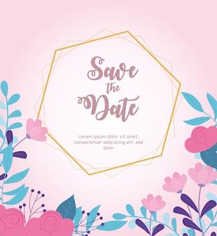 Flores de la boda, guardar la fecha, borde flores decorativas fondo rosa