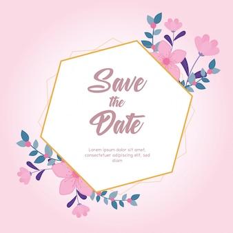 Flores de boda, guardar la fecha, tarjeta de felicitación florecer fondo de naturaleza rosa