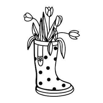 Flores en botas de goma