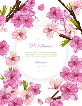 Flores de cereza y fondo de tarjeta de primavera