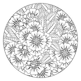 Flores de círculo de contorno en estilo mehndi para colorear página doodle adorno en dibujo a mano en blanco y negro