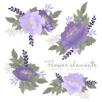 Flores clipart moradas y violetas