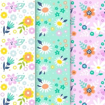Flores de la colección de patrones sin fisuras de la temporada de primavera