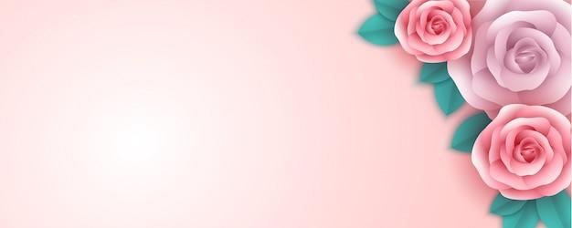 Flores color de rosa con diferentes colores y hojas sobre un fondo rosa. concepto creativo de diseño de celebración del día de la madre. diseño de estilo de corte de papel