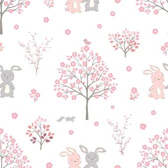 Flores de color rosa dulce florecen en primavera con lindos conejos de patrones sin fisuras