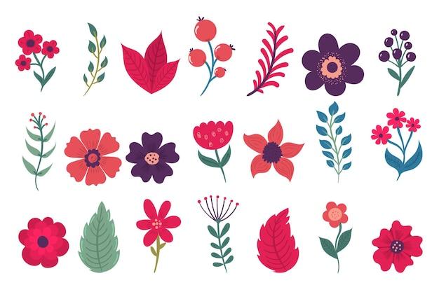 Flores de colores en una caricatura de estilo plano aislado en blanco