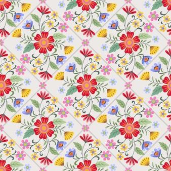 Flores de colores diseño de patrones sin fisuras