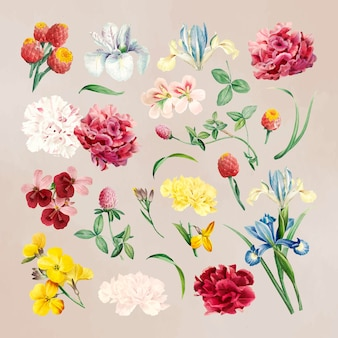 Flores de colores sobre un fondo beige