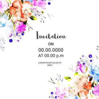 Flores coloridas adornadas, tarjeta de la invitación.