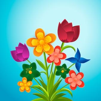 Flores coloridas de estilo de papel degradado 2d