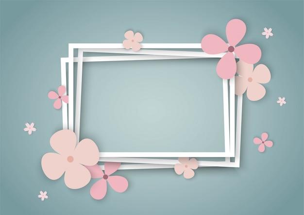 Flores coloridas con marco cuadrado