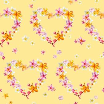 Flores de corazones tropicales de patrones sin fisuras