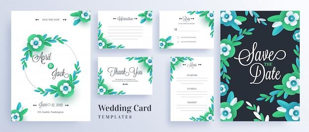 Las flores de corte del papel verde adornaron la tarjeta de la invitación de la boda