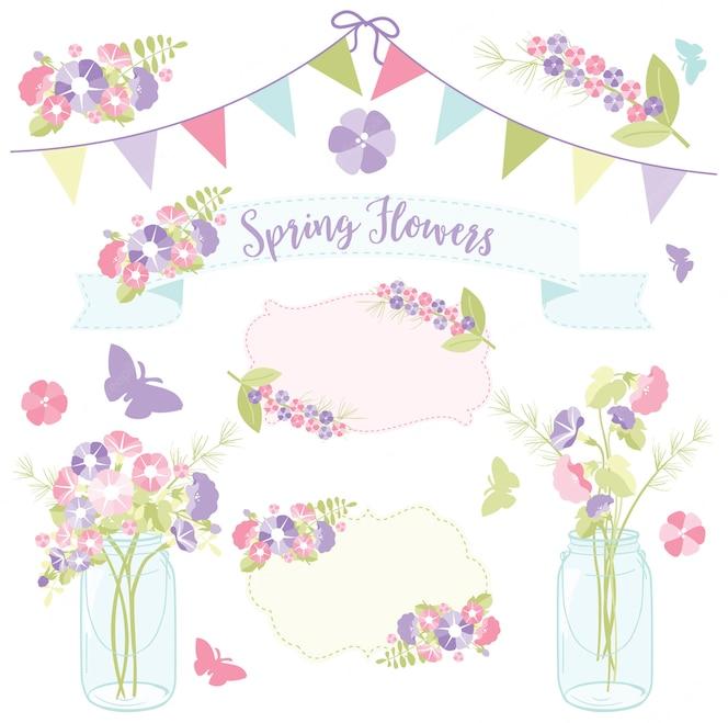 Flores de primavera en frascos de albañil para el día de la madre