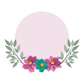 Flores decorativas en blanco marco redondo