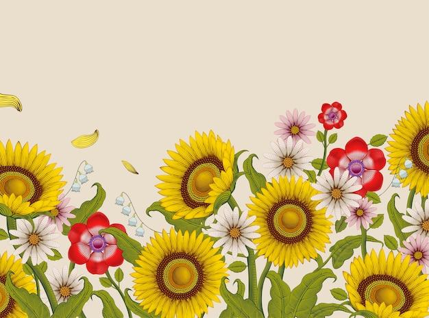 Flores decorativas, girasoles y flores silvestres en estilo de sombreado grabado sobre fondo beige, tono colorido