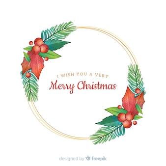 Flores dibujadas a mano con felices deseos navideños