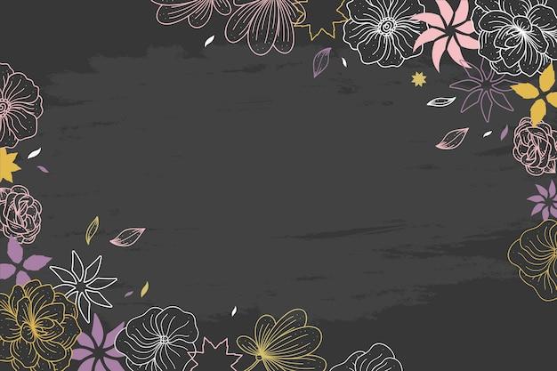 Flores dibujadas a mano en papel tapiz de pizarra