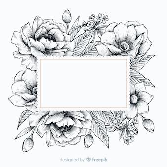 Flores dibujadas a mano realista con banner en blanco