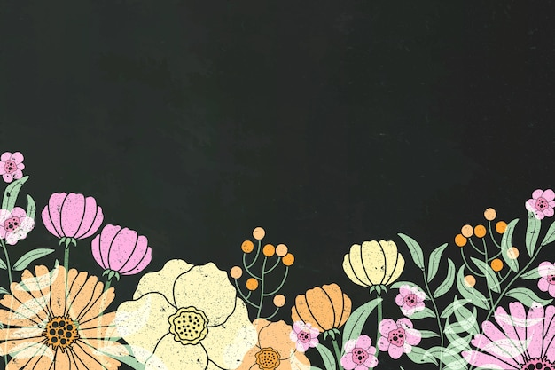 Flores dibujadas a mano sobre fondo de pizarra