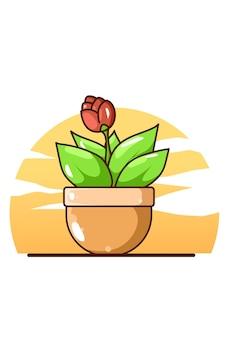Flores en dibujos animados icono de olla
