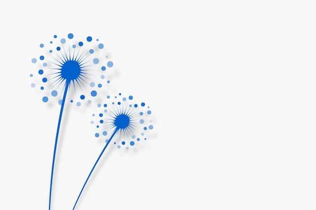 Flores de diente de león en blanco