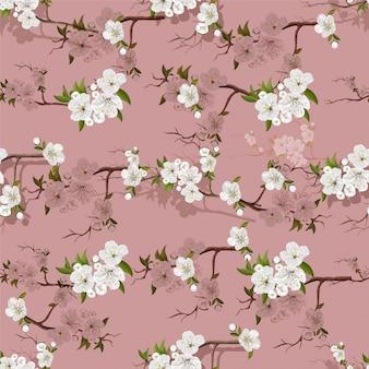 Flores de durazno blanco flor de patrones sin fisuras