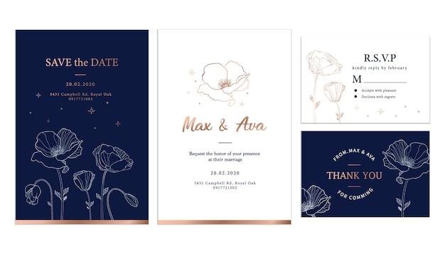 Flores elegantes de oro rosa con plantilla de tarjeta de boda de fondo azul