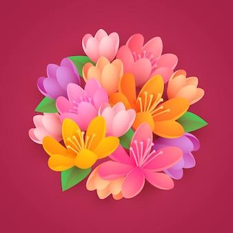 Flores de estilo de papel degradado 2d