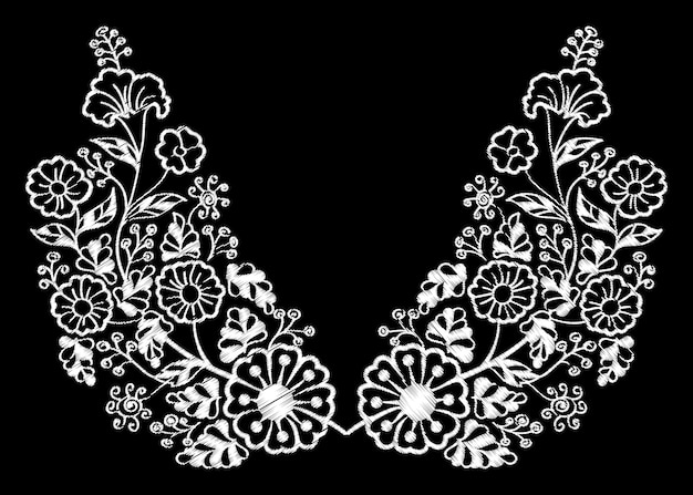 Flores étnicas garabatos cuello línea bordado.