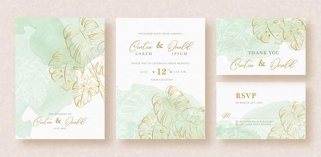 Flores exóticas con salpicaduras verdes en invitación de boda